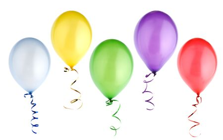 studio shot of colorful balloons isolated on white background Stock Photo