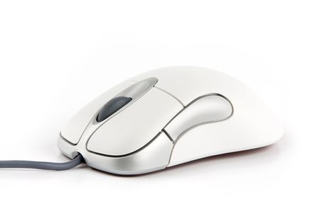 computer mouse with cable on white background photo