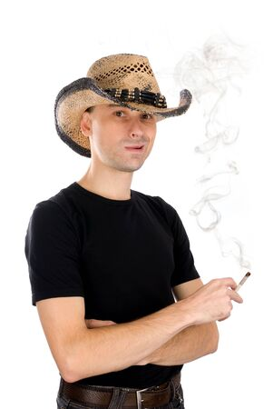man smoking a cigarette isolated on white photo