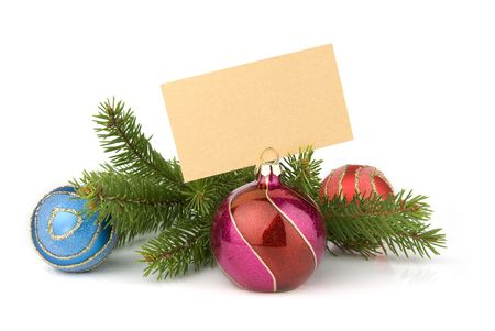 christmas concept. fur-tree branch and balls and blank card for your text photo