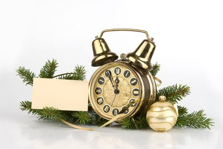 christmas concept. Antique alarm clock and blank card for your text photo