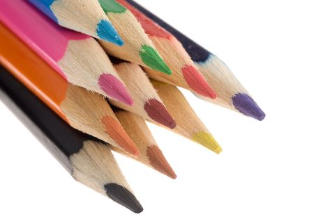 Assortment of colored pencils closeup photo