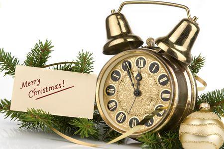 horloge ancienne: D�coration de No�l. Joyeux No�l carte et horloge antique