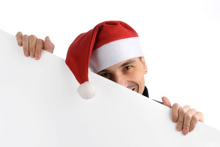 happy man in a christmas hat with Blank Sign Stock Photo - 5886411