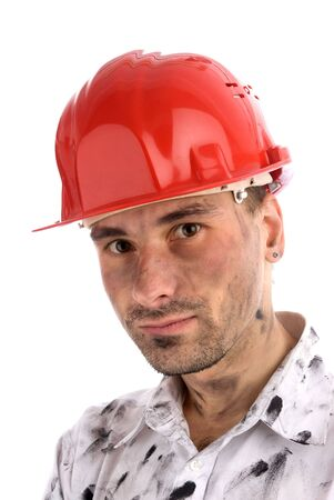 close-up portrait of a young builder or a coal miner photo