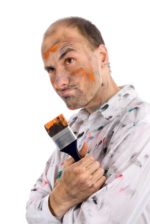 careless: careless young man covered in paint Stock Photo