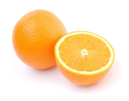One and half oranges isolated on white photo