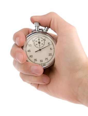 timescale: Stop-watch in a hand, isolated on white Stock Photo