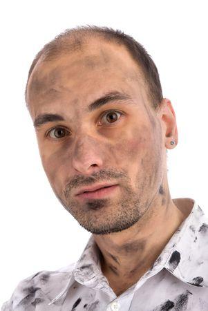 hombre sucio: Retrato de hombre con cara sucia aislado en blanco
