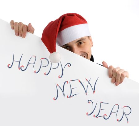 happy man in a christmas hat Stock Photo - 6024051