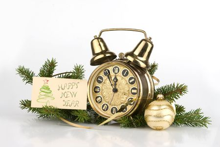 New Year decoration with Antique alarm clock photo