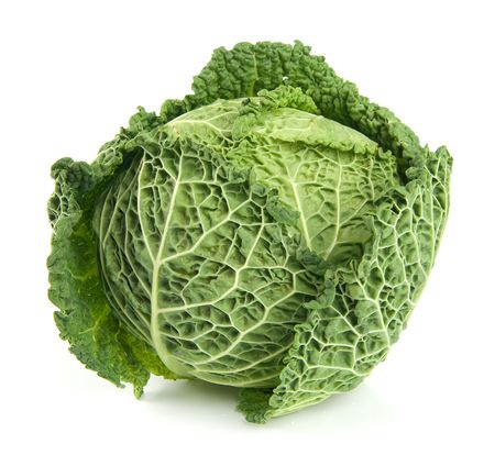 savoy: Ripe Savoy Cabbage Isolated on White Background