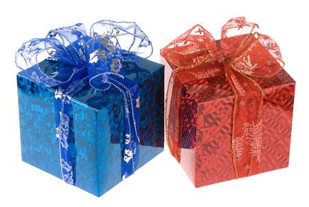 two gift boxes isolated on white. studio shot Stock Photo - 6075239