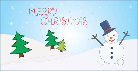 christmas card with trees and snowman Stock Vector - 6075280