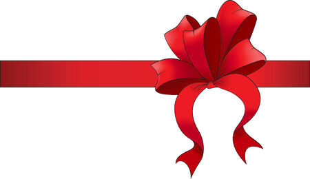 red ribbon with bow. Vector illustration Vector