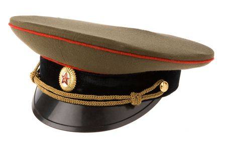 russian hat: soviet army cap isolated on white