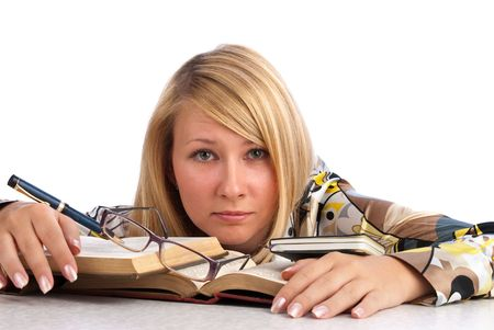 Tired student sitting with book Stock Photo - 6153204
