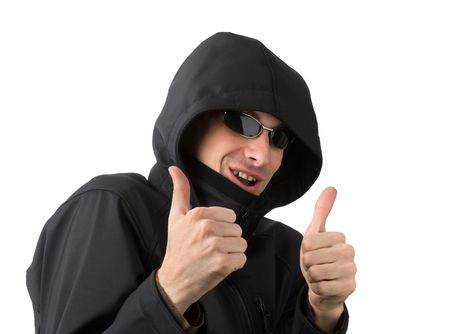 A handsome man with thumbs up on an isolated white background photo