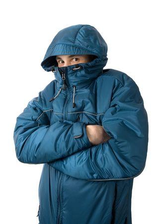 man freezing. Isolated on white background photo