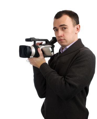man with video camera isolated on white photo