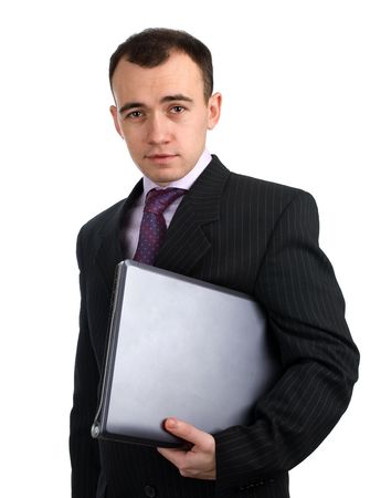 businessman holding laptop computer photo