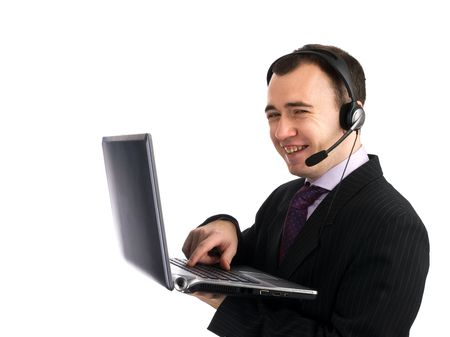 Customer services man with his laptop computer. Isolated over a white background Stock Photo - 6201618