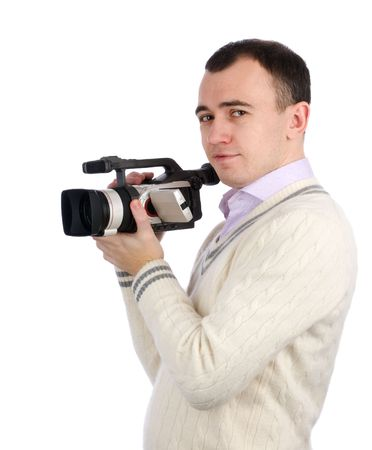 A young man holding a camcorder isolated on a white background Stock Photo - 6201646
