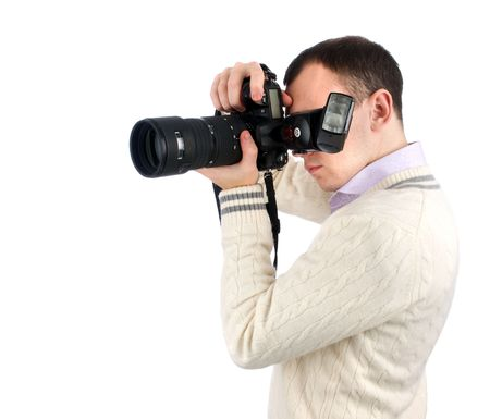 man with camera isolated over white photo