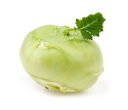 unusual vegetables: cabbage kohlrabi isolated over white