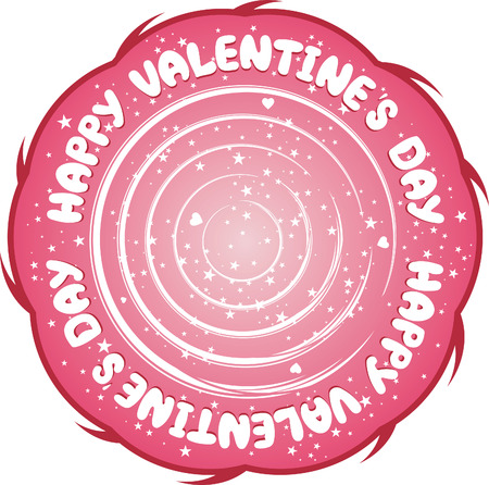 Pink holiday stamp with hearts. Valentine's Day rubber stamp Stock Vector - 6292543