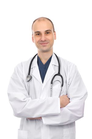 happy young doctor smiling. Isolated over white Stock Photo - 6399908
