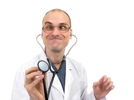 nuthouse: Young and crazy doctor using a stethoscope