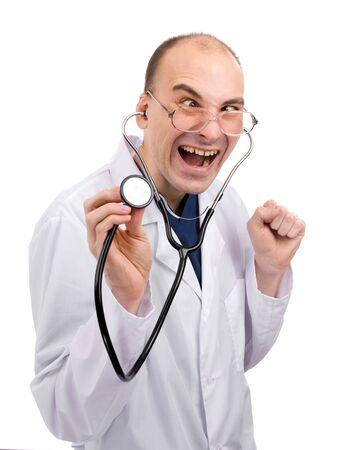 白で分離された狂った医者