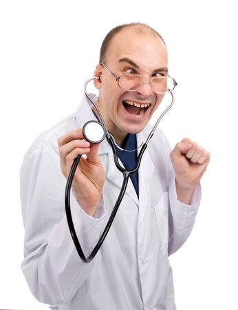 funny doctor: Crazy doctor isolated over white