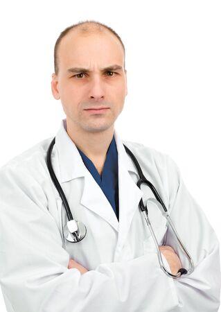 不賛成の式を持つ医師