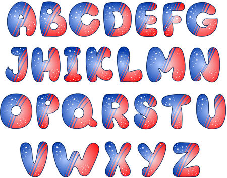 American Flag stylized alphabet Stock Vector - 6400048