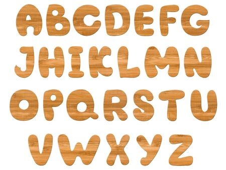 wooden alphabet over white background photo