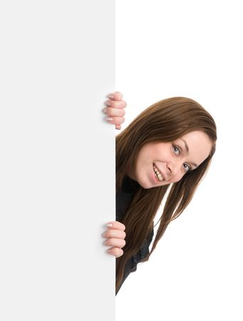 Portrait of a beautiful woman holding a blank billboard Stock Photo - 6516638