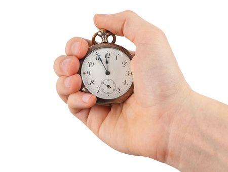 mans watch: Mano del hombre con un reloj de plateado vintage
