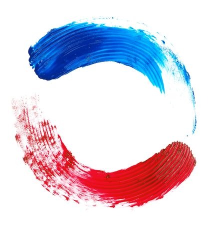 retro circles: red and blue brush strokes on a white background