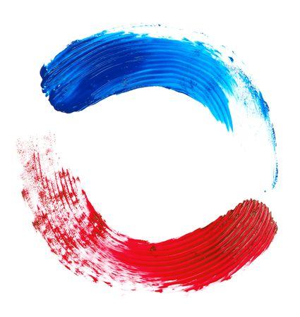 trazos de pincel de rojo y azul sobre un fondo blanco