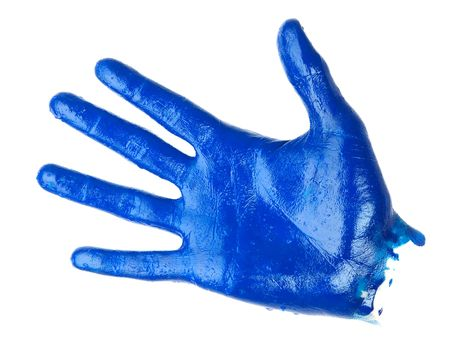 human palm covered blue oil paint. isolated on white background Stock Photo - 6855034