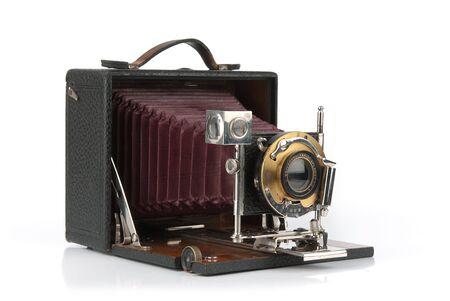 白い背景で隔離の古い写真カメラ 写真素材