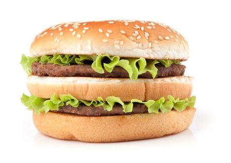 hamburger bun: Tasty big hamburger isolated on white background Stock Photo