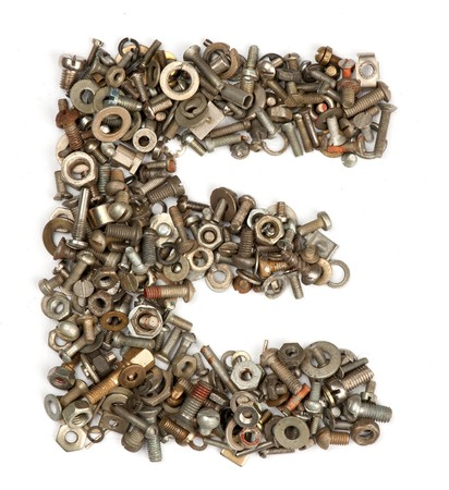 abc's: alphabet made of bolts - The letter e Stock Photo