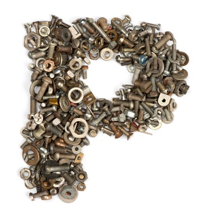abc's: alphabet made of bolts - The letter p Stock Photo