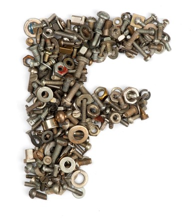 abc's: alphabet made of bolts - The letter f Stock Photo