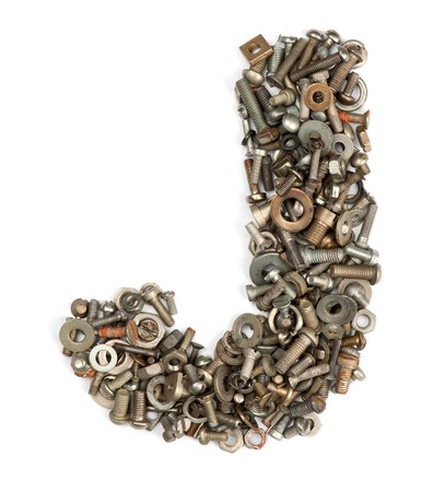 alphabet made of bolts - The letter j Stock Photo - 7090225