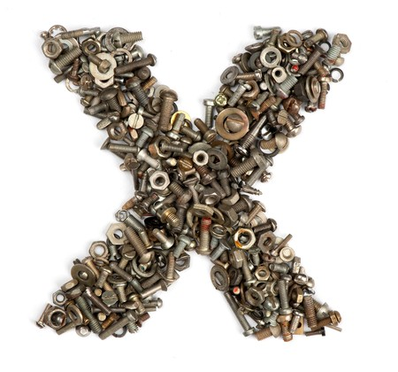 alphabet made of bolts - The letter x photo