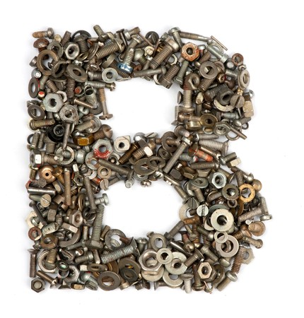 letter b: alphabet made of bolts - The letter b